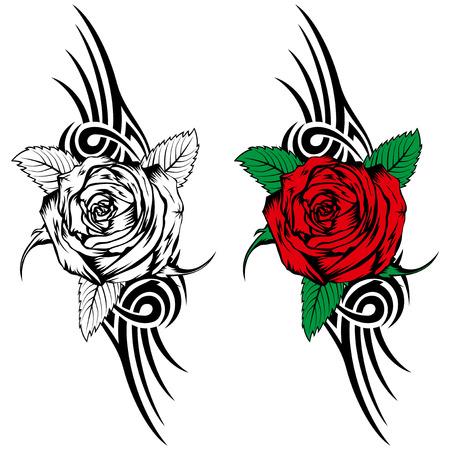 Ilustración del vector se levantó con las llamas tribales para el diseño de tatuaje o una camiseta
