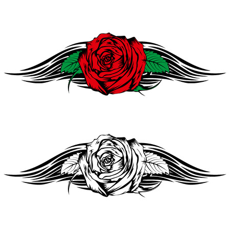 Vector illustration rose with tribal flames for tattoo or t-shirt design Vector Illustration