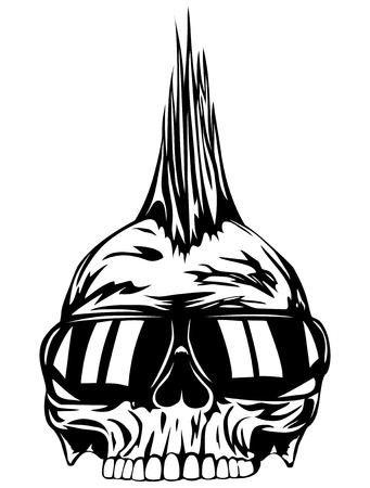 punk hair: Abstract vector illustration grunge skull punk with sunglasses for tattoo or t-shirt design