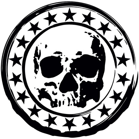 deaths: Abstract vector illustration grunge round stamp with stars and a scary skull.