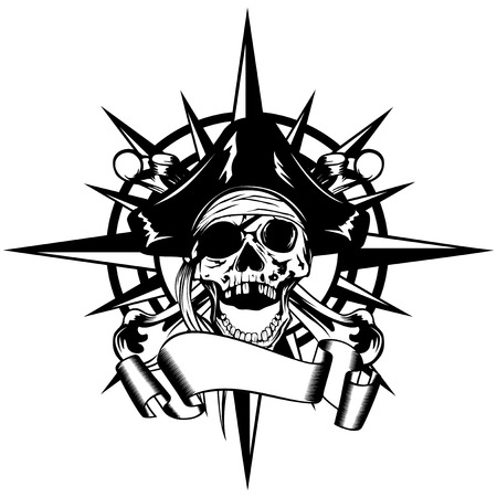 ilustración vectorial rosa de los vientos y el signo del cráneo del pirata en el sombrero de tres picos con los huesos cruzados