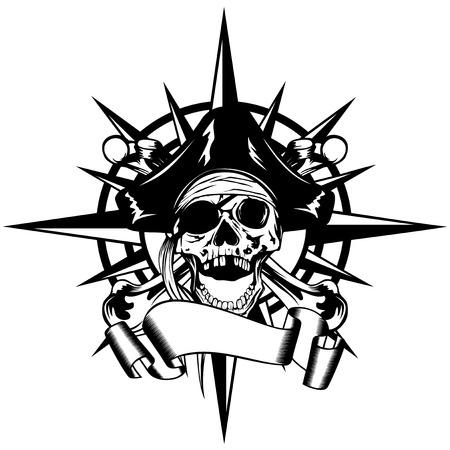 Vector illustration rose des vents et signe pirate crâne dans chapeau à cornes avec des os croisés Banque d'images - 64640567