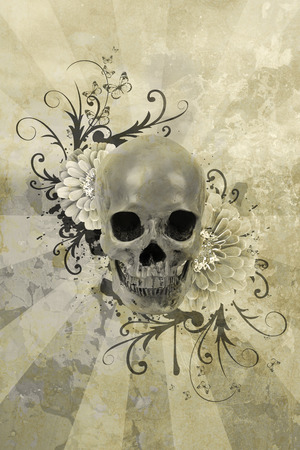 deaths: Skull with flowers and patterns on a grunge background Stock Photo