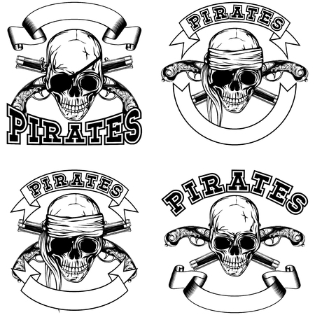 cocked hat: Vector illustration pirate skull and crossed old pistols. Pirate emblem set