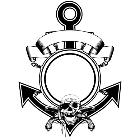 swashbuckler: Vector illustration anchor and steering wheel framework and piracy sing skull in cocked hat with crossed old pistols