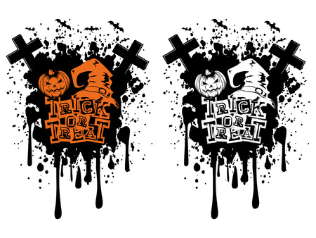 trick or tread: Vector illustration lettering trick or tread and jack-o-lantern pumpkin and witch hat set on grunge background.