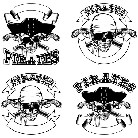 flintlock: Vector illustration pirate emblem skull bandana and cocked hat and crossed flintlock pistols set