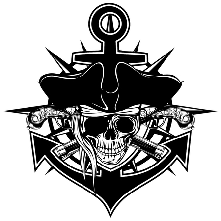 Vector illustration pirate emblem skull in cocked hat with crossed pistols and anchor