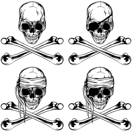 Vector illustration pirate skull and crossed bonnes set. Skull with eye patch and without.