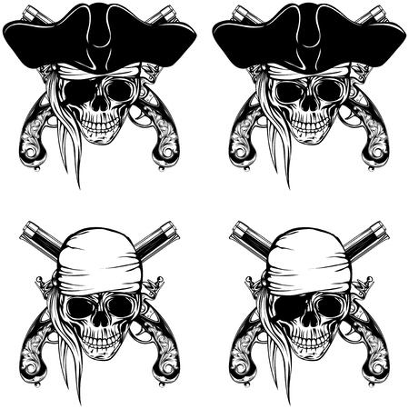 flint gun: Vector illustration pirate skull bandana or cocked hat and crossed old pistols set