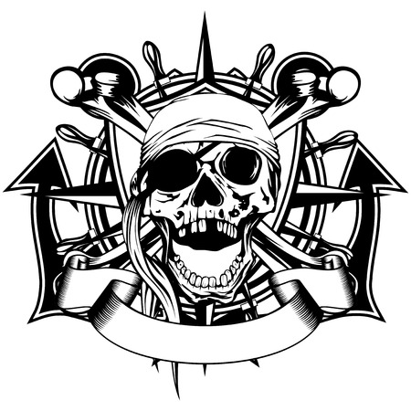Vector illustration pirate symbol skull with bandana, crossed bones and crossed anchors and wheel Illustration