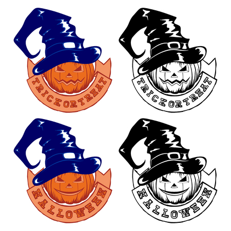 Vector colored and black and white illustration jack-o-lantern halloween pumpkins with witch hat and ribbon with lettering trick or treat and halloween set.