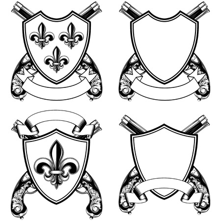 pistols: Vector illustration shield with heraldic flower Lily (fleur-de-lys or fleur-de-lis) and crossed old flintlock pistols