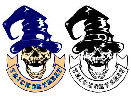 trick or tread: Vector illustration skull with witch hat and lettering  trick or tread.
