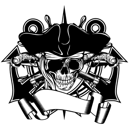 sea robber: Vector illustration pirate symbol skull cocked hat with crossed old pistols and crossed anchors and wheel Illustration