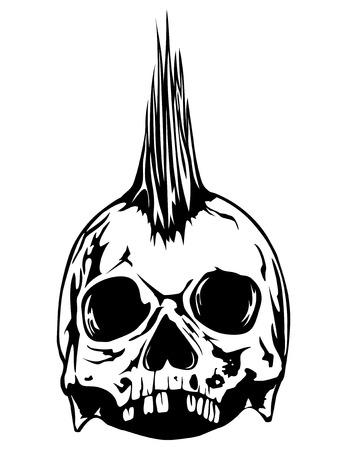 punk hair: Abstract vector illustration grunge skull punk for tattoo or t-shirt design