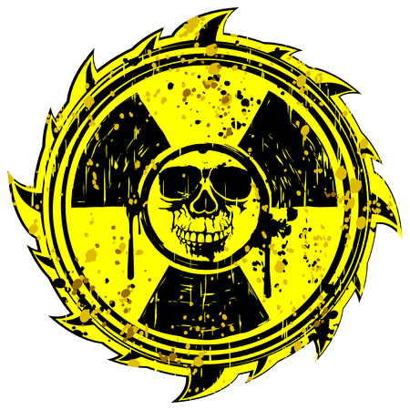 Abstract vector illustration grunge yellow symbol skull with radiation sing Illustration