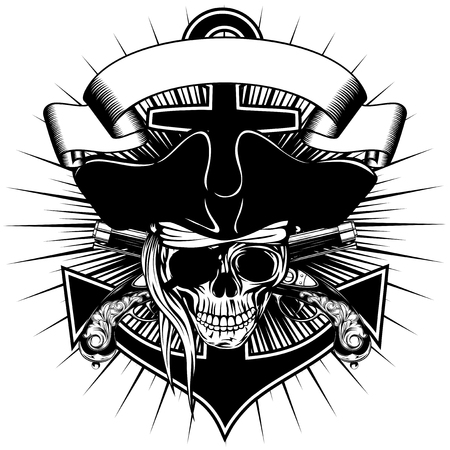 swashbuckler: Vector illustration pirate sign skull in cocked hat with crossed old pistols and anchor