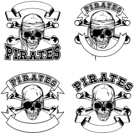 Vector illustration pirate skull and crossed bonnes. Pirate emblem set