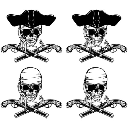swashbuckler: Vector illustration pirate skull bandana or cocked hat and crossed old pistols set