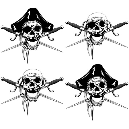 Vector illustration pirate skull with bandana and cocked hat and crossed cutlass set Illustration