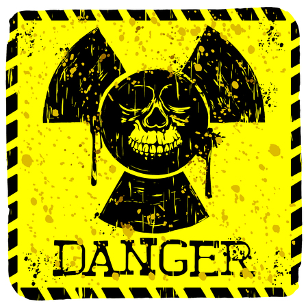 toxicity: Abstract vector illustration square grunge yellow sign radiation to skull with lettering danger