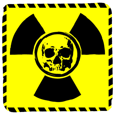 toxicity: Vector illustration square yellow sign radiation to skull