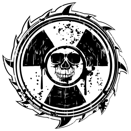Abstract vector illustration grunge black skull and symbol radiation Illustration
