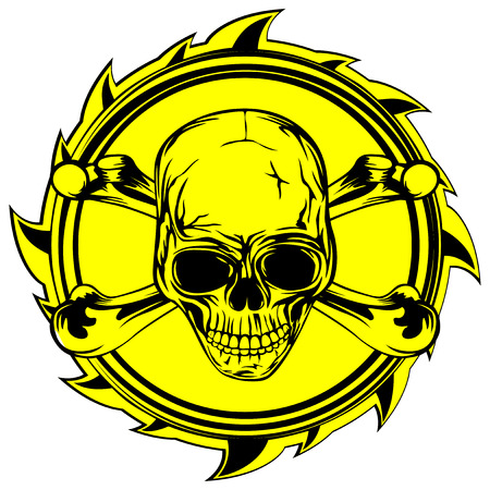 Vector illustration abstract yellow and black sign to skull