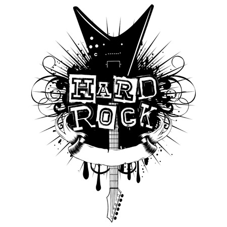 Vector illustration guitar and lettering hard rock on grunge background