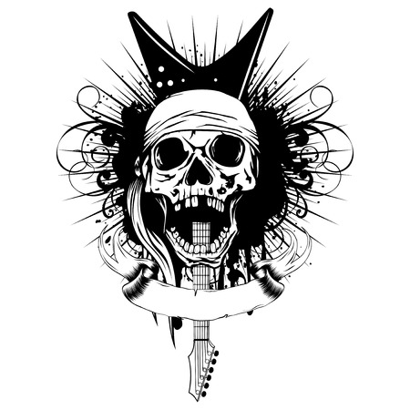 Vector illustration grunge skull in bandana and guitar on dirty background. Hard rock sign. Design for t-shirt or tattoo Иллюстрация