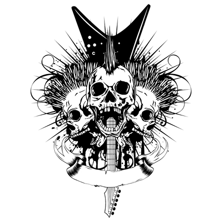 Vector illustration skulls with mohawk haircut and crossed electric guitars on grunge background. Design punk rock sign for t-shirt or poster print