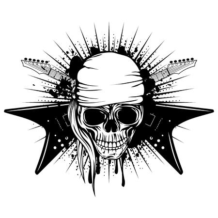death metal: Vector illustration skull in bandana and crossed guitars on grunge background. Hard rock design for t-shirt or tattoo Illustration
