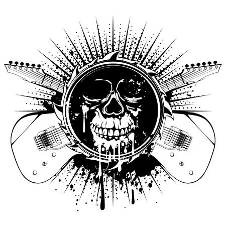 Vector illustration grunge skull in abstract frame and crossed guitars on dirty background. Hard rock sign. Design for t-shirt or tattoo