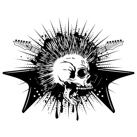 heavy: Vector illustration skull with mohawk and crossed electric guitars on grunge background. Design punk rock sign for t-shirt or tattoo Illustration