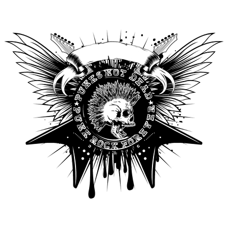 heavy metal: Vector illustration stamp and electric guitars on wings and grunge background. Imprint contains skull with mohawk and lettering punk not dead and punk rock forever. Design for t-shirt or tattoo