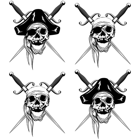 cocked hat: Vector illustration pirate skull with bandana and cocked hat and crossed cutlass set Illustration