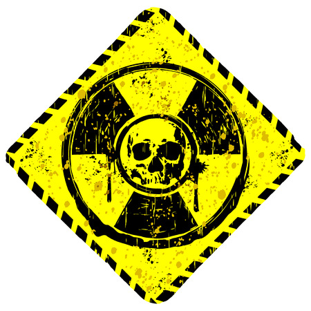 rhombic: Abstract vector draw rhombic grunge yellow sign radiation to skull with lettering danger