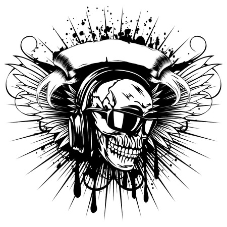 Vector illustration skull with sunglasses and earphone on wings and grunge background