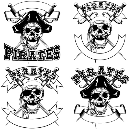 sea robber: Vector illustration pirate emblem skull bandana or cocked hat and crossed daggers set.
