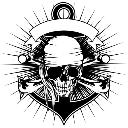 Vector illustration pirate sign skull with bandana with crossed bones and anchor