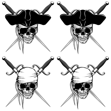 cocked: Vector illustration pirate skull with bandana and cocked hat and crossed cutlass set Illustration