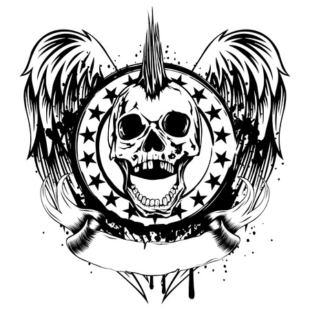 Vector illustration punk skull and stamp on wings. Skull with mohawk on his head and open jaw.