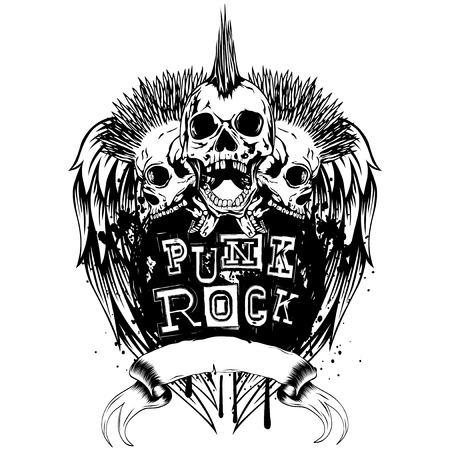 Vector illustration three punk skulls and lettering punk rock on wings. Skull with mohawk on his head and open jaws.