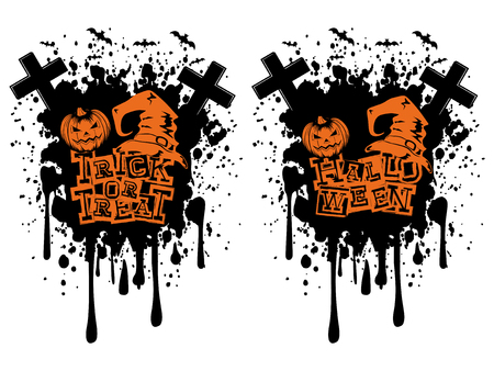Vector illustration lettering halloween and trick or tread and jack-o-lantern pumpkin and witch hat set on grunge background.