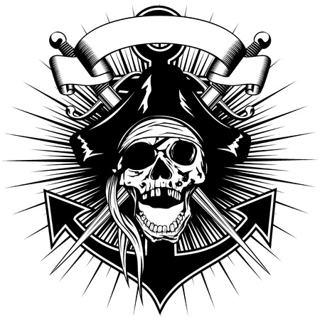 Vector illustration pirate sign skull in cocked hat with crossed daggers and anchor Illustration