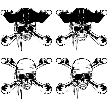 crossbone: Vector illustration pirate skull bandana and cocked hat and crossed bones