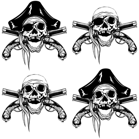 flintlock: Vector illustration pirate skull bandana or cocked hat and crossed old pistols set