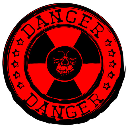 nuke: Vector illustration red stamp with radioactivity sign and inscription danger. In center of radiation symbol abstract grunge skull