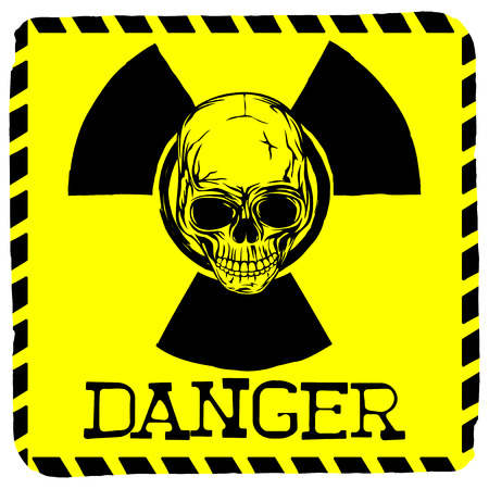 toxicity: Vector illustration square yellow logo radiation to skull with lettering danger